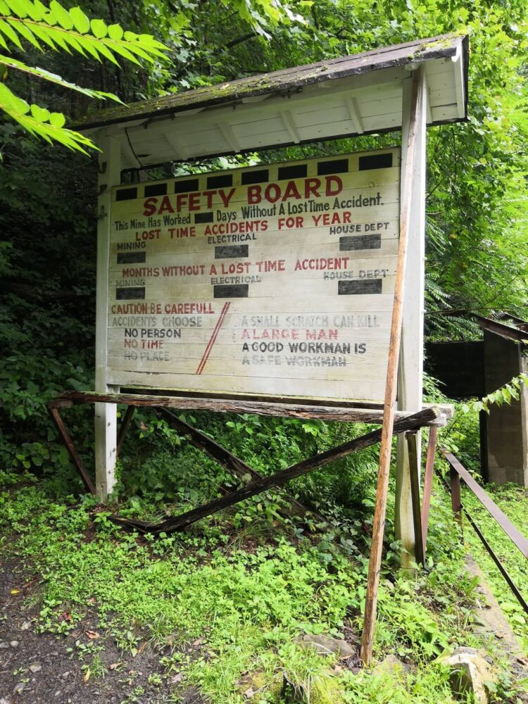 Safety board at the mine in New River Gorge.