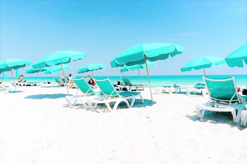 White sand, chairs and umbrellas on Miami Beach