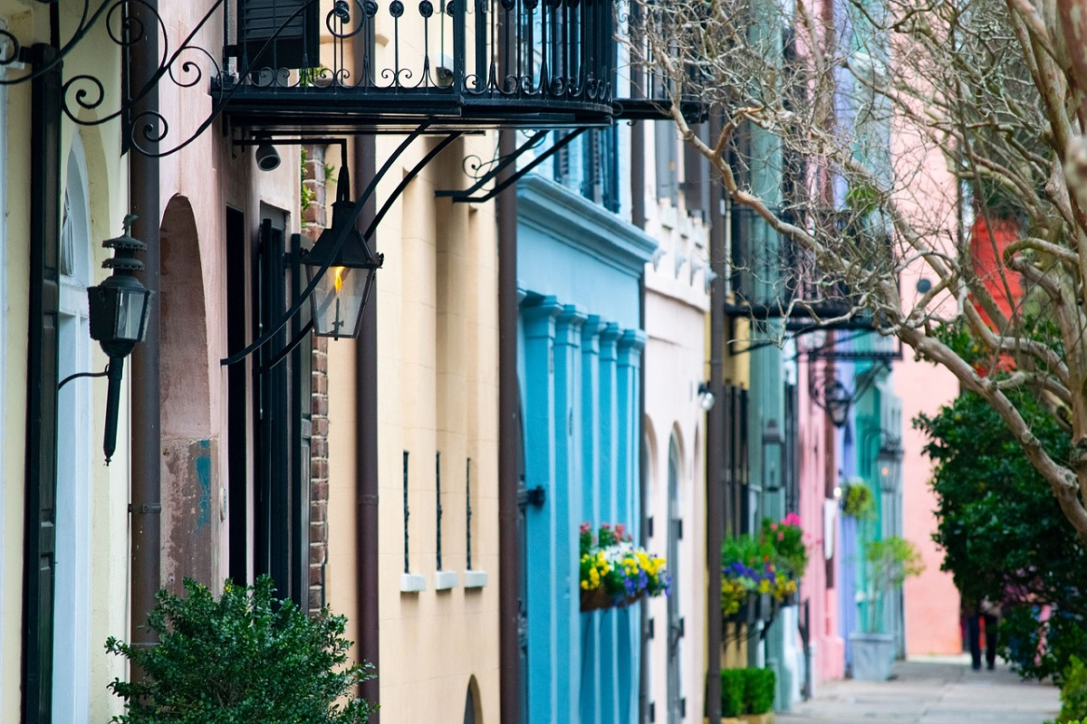 Colorful buildings in Charleston.