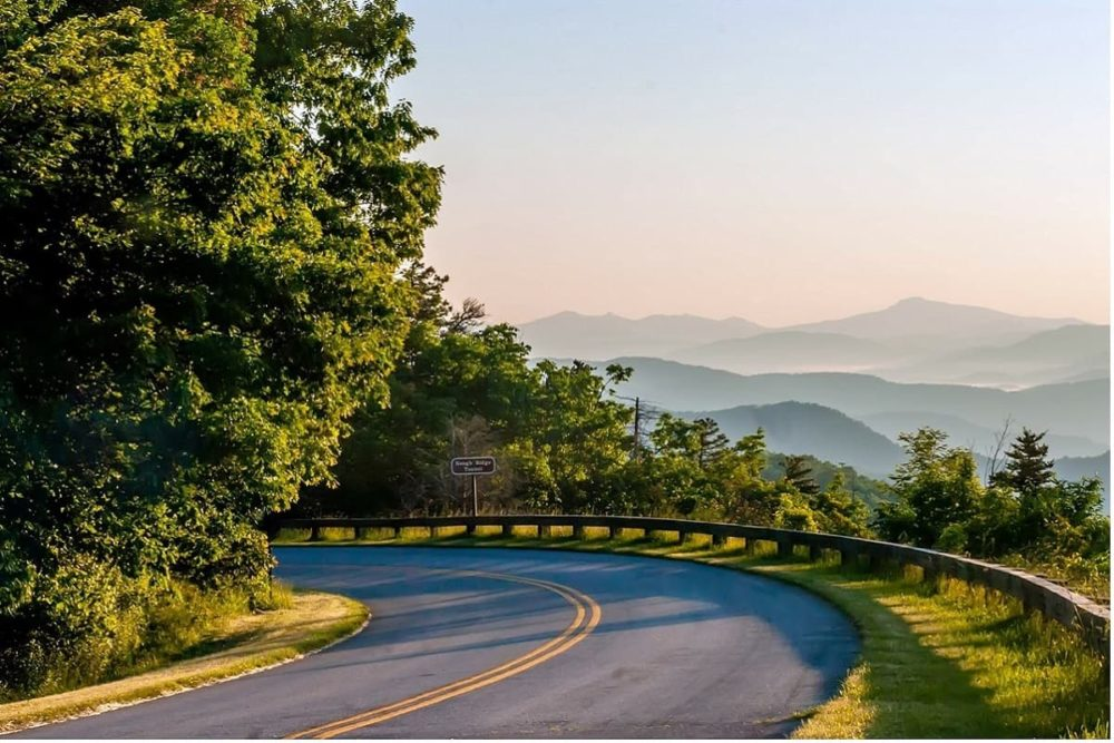 The Blue Ridge Parkway during cross country road trip