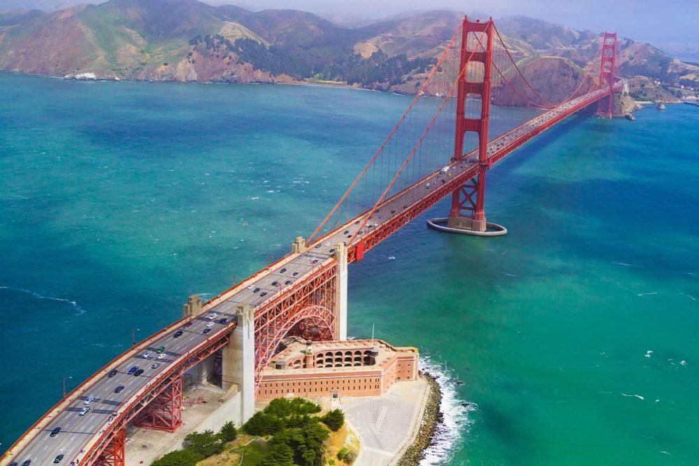 Golden Gate Bridge at start of road trip route