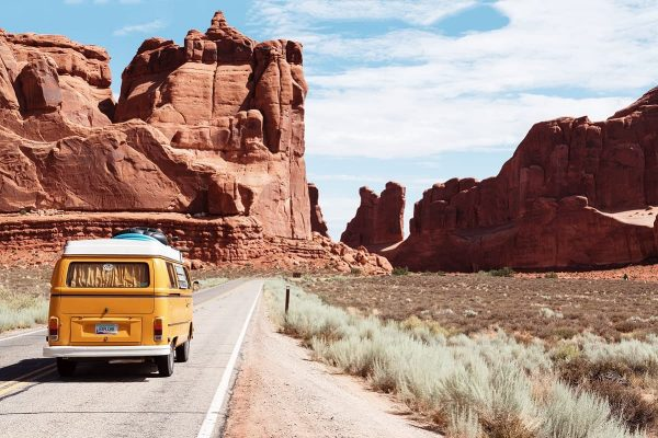 American cross country road trip from Los Angeles to New York