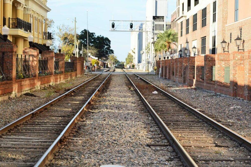 Train tracks in Downtown Orlando