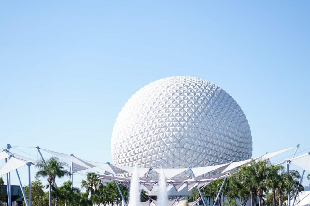 Epcot huge bulb and palm trees