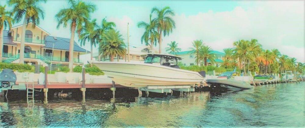 Boat at dock in Key Largo