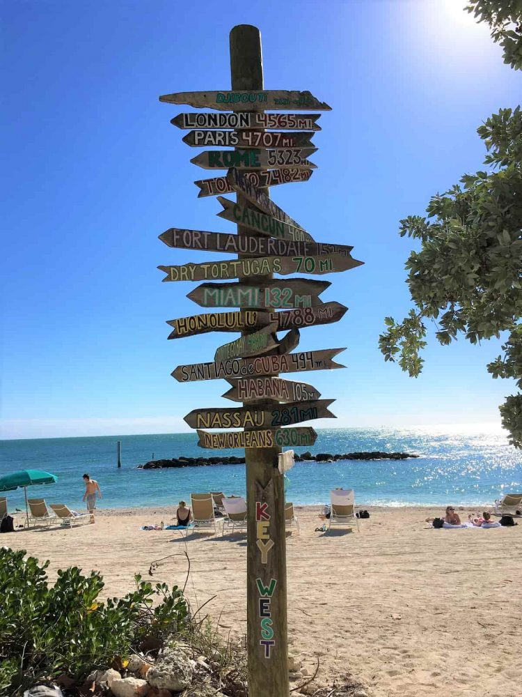 Key West beach sign during daytime