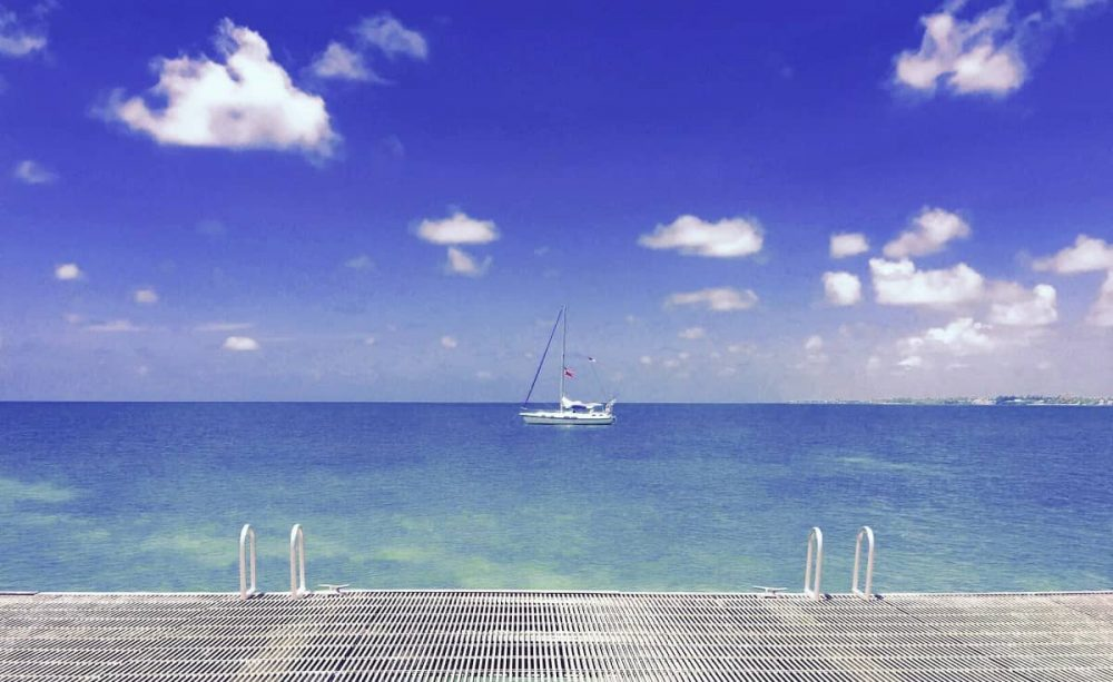Blue water and boat