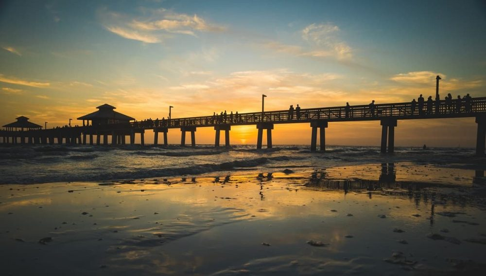 Fort Myers Beach Pier Florida during sunset