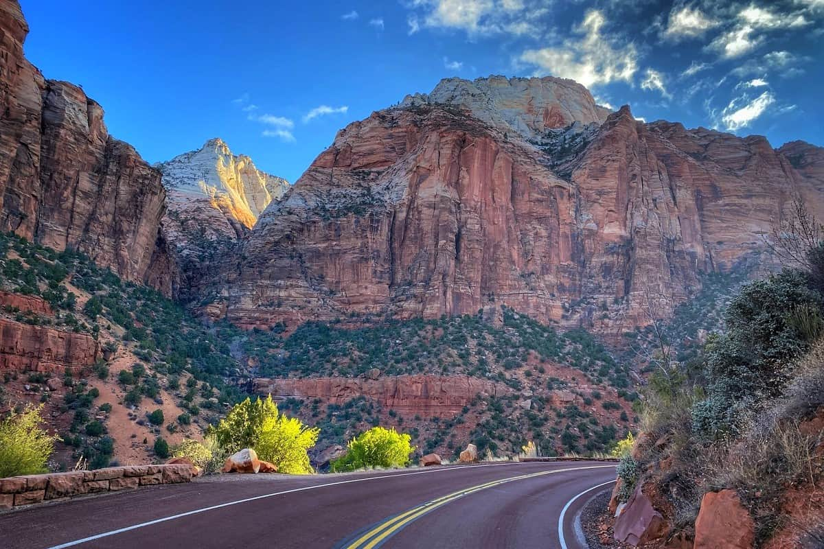 Road with red sandstone and blue sky