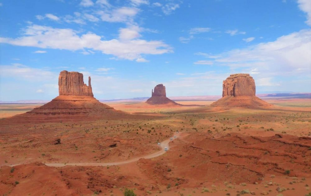 Red valley with huge buttes in Utah during daytime