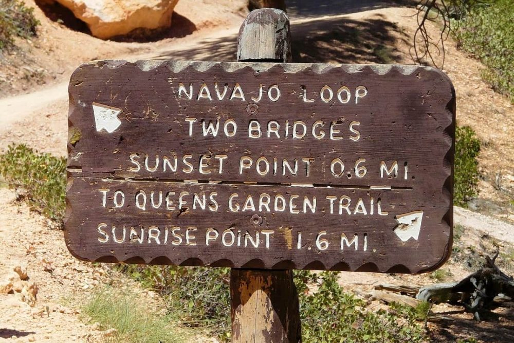Bryce Canyon trail sign