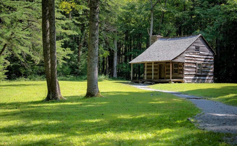 Small log cabin at edge of green valley