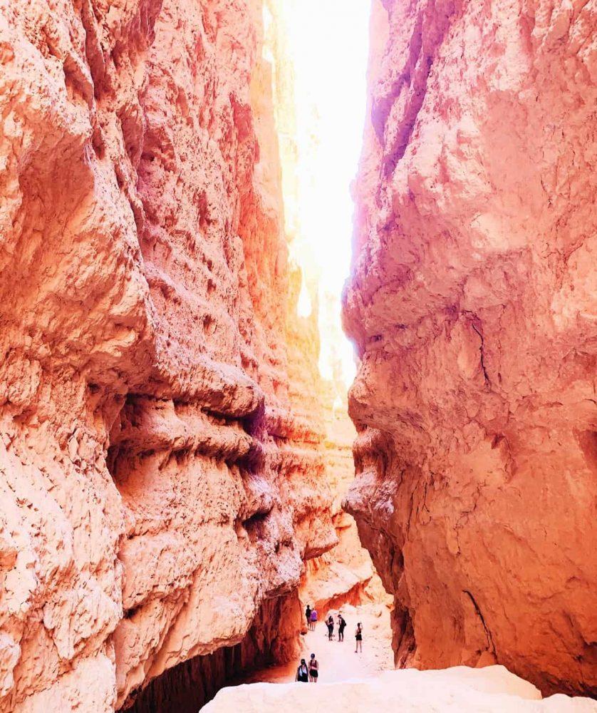 Narrow trail between canyon walls in Bryce Canyon