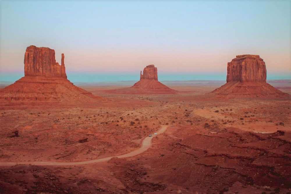 Three large rock buttes in Monument Valley