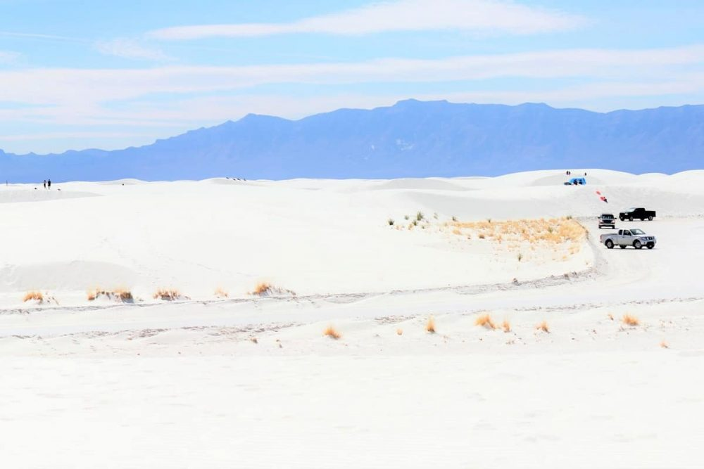 Cars in White Sands National Park