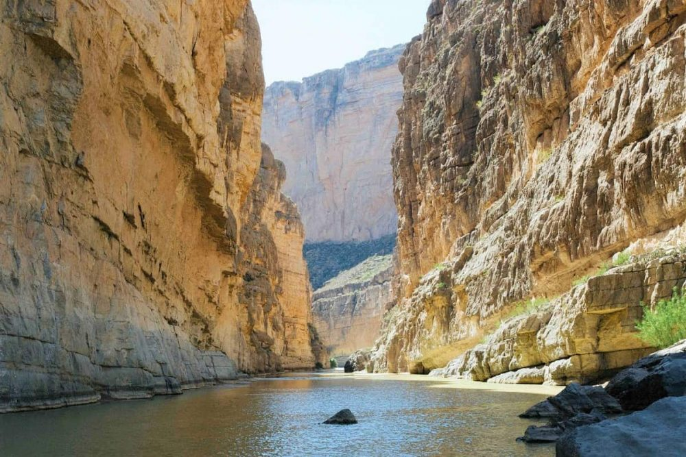 Canyon with river flowing in Big Bend National Park, TX.
