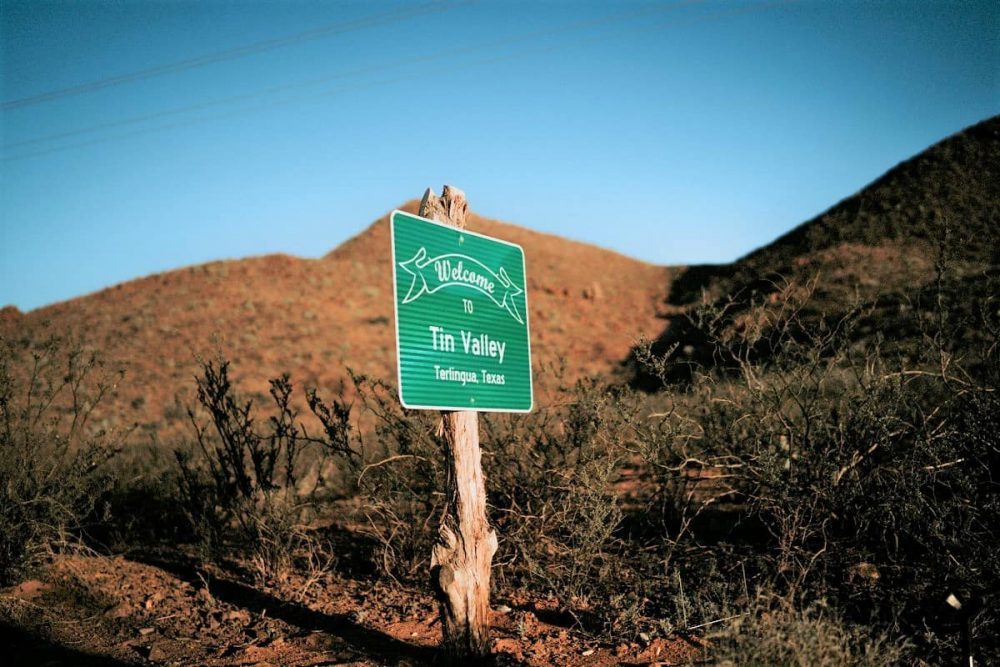 Road sign for Terlingua near Big Bend National Park