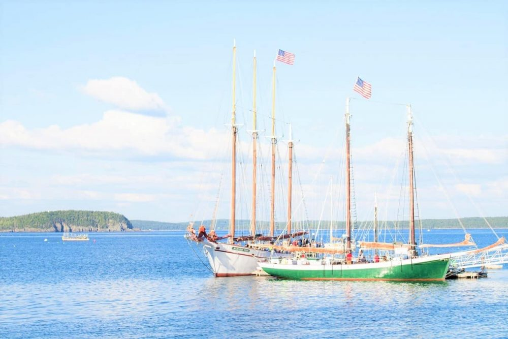 Boats with American flags in Bar Harbor, ME