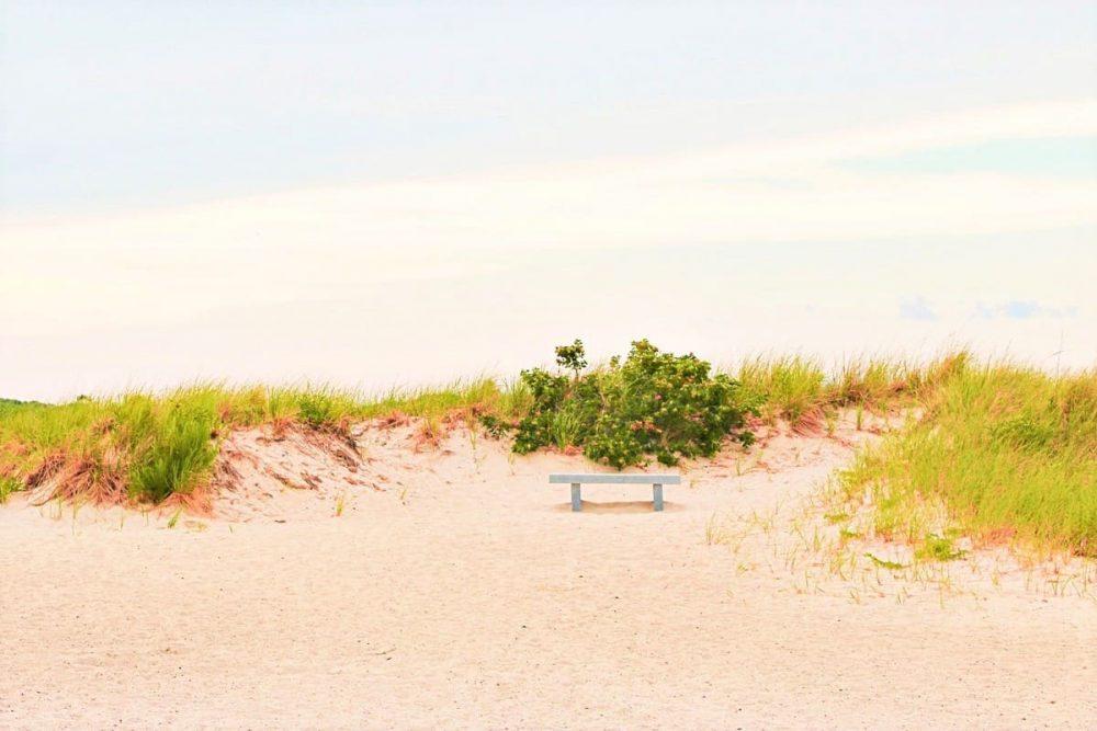 Empty Beach and bench in Cape Cod, MA