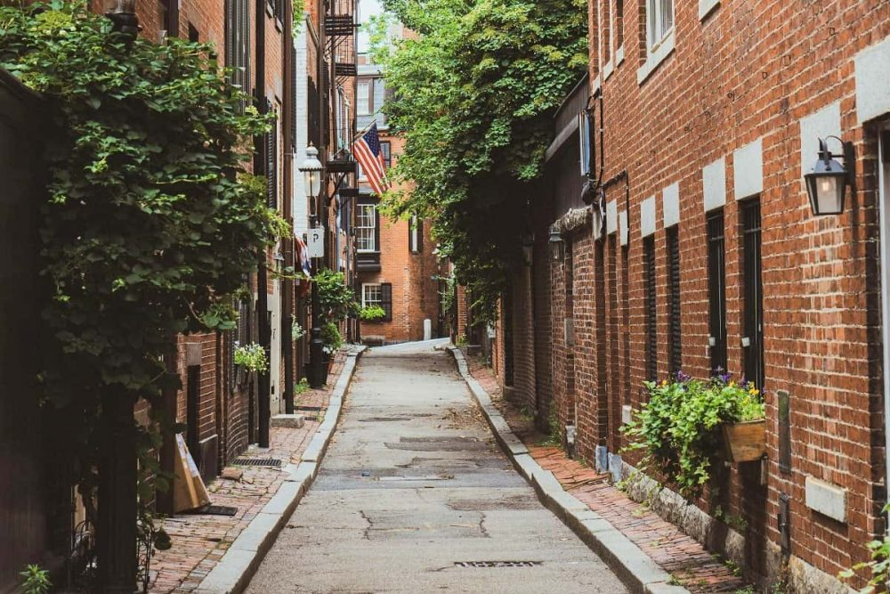 Cozy street with American flag in Beacon Hill, Boston