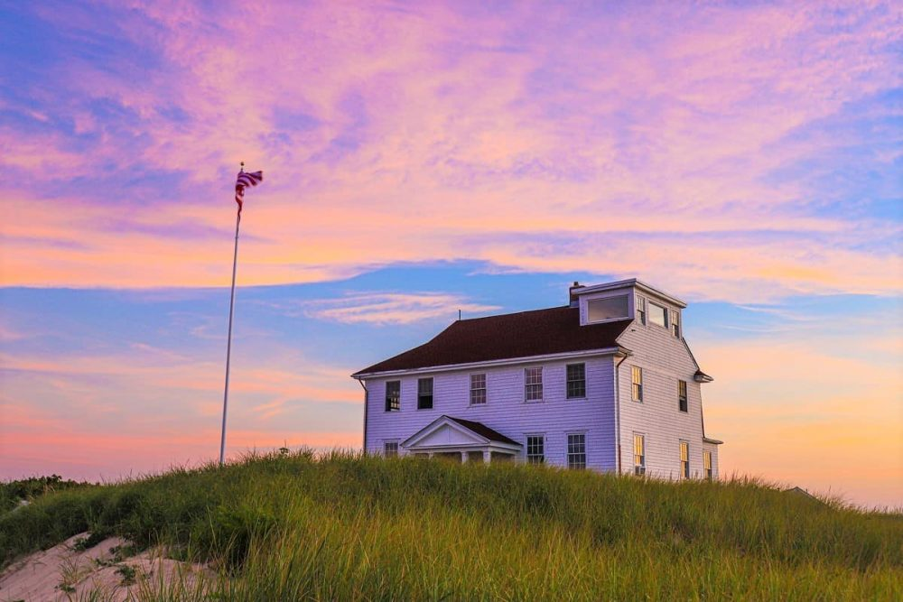 House at Race Point Beach during sunset.