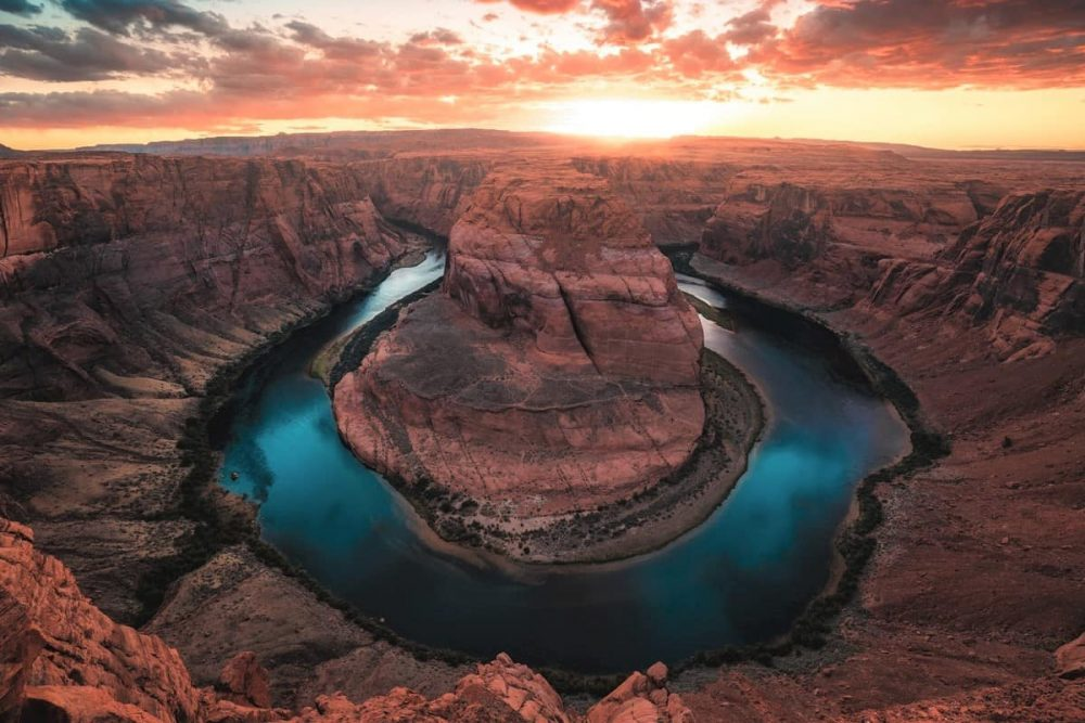 Sunset at Horseshoe bend on road trip in Arizona