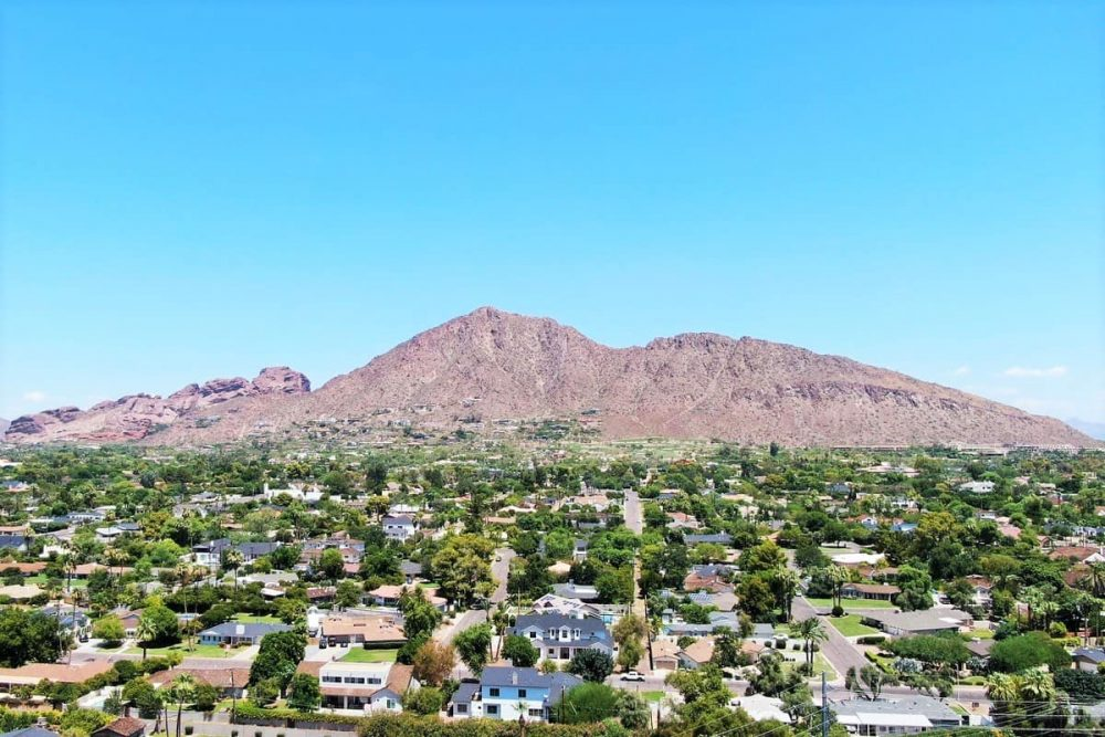 View over Camelback Mountain as you begin the Arizona road trip in Phoenix