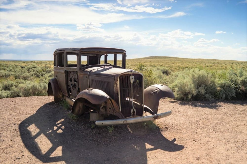 Vintage Car in Petrified Forest National Park in Arizona